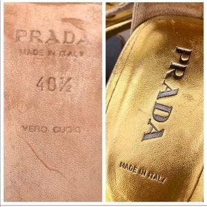 Prada Shoes - PRADA blush SUEDE leather sandal heels GOLD silver